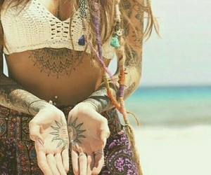 hippy, tatoo, and rastas image