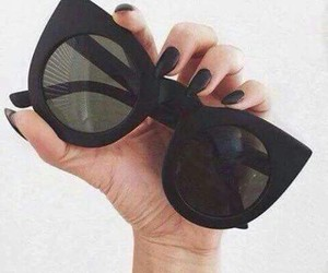 black, sunglasses, and fashion image