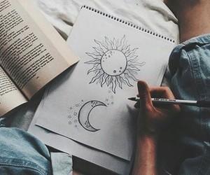 drawing, art, and moon image