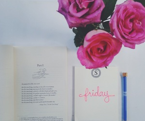 books, roses, and friday image