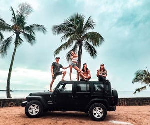 friends, car, and beach image