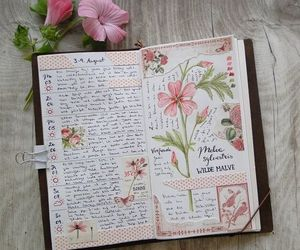 flowers, journal, and book image