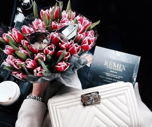 flowers, chanel, and bag image