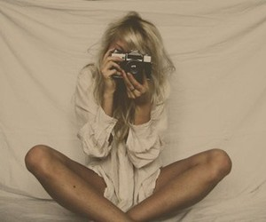 blonde, camera, and hair image