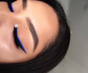 makeup, blue, and eyeliner image
