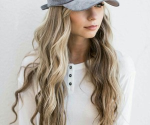blond hair, casual, and hat image
