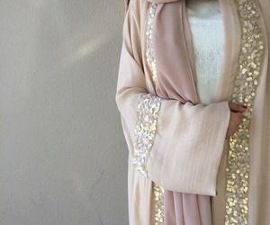 abaya, gold, and hijab image