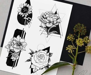 draw, flower, and flowers image