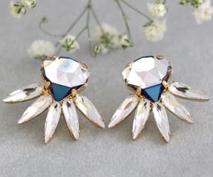 bridal jewelry, earrings, and etsy image