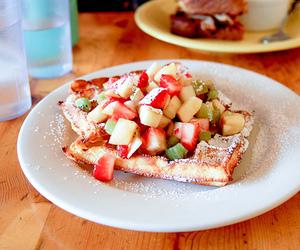 food, fruit, and waffles image
