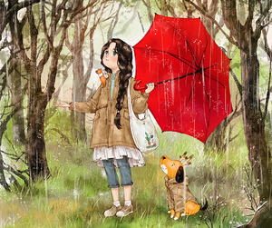dog, girl, and rain image