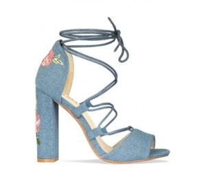 flower print, heels, and sandals image