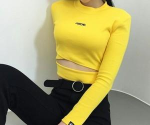 yellow, fashion, and black image