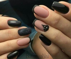 black, blush, and nails image
