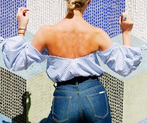back, jeans, and strapless image