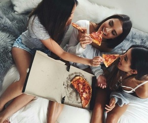 fashion, pizza, and girls image