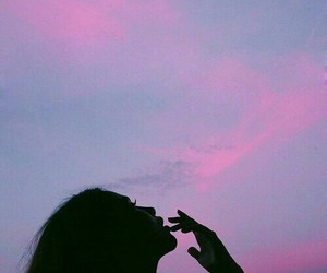 girl, sky, and pink image