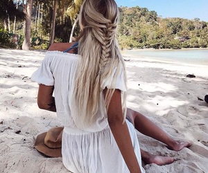 girl, blonde, and braid image