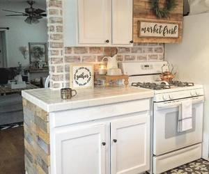 brick, kitchen, and white wash image