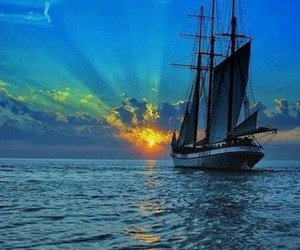 sunset, boat, and sea image