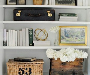 bookshelves, home decor, and bookshelf decor image