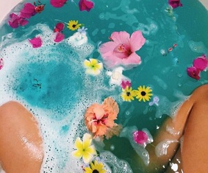 bath time, flowers, and legs image
