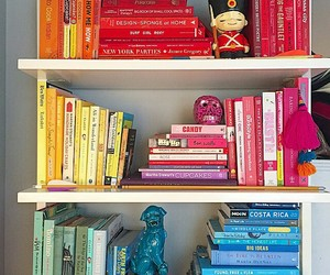 books, colors, and organized image