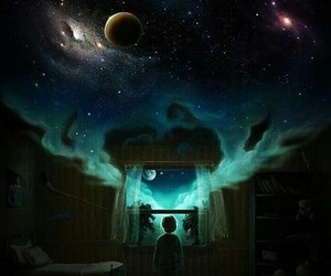 Dream, galaxy, and night image