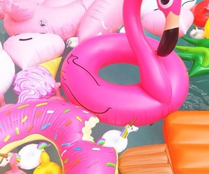 background, flamingo, and pink image