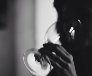 black and white, drink, and wine image