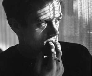 james dean, smoke, and black and white image
