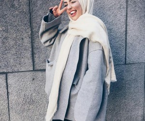 fashion, hijab, and grey image