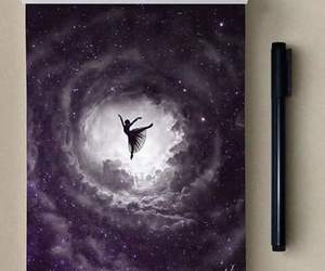 art, ballerina, and galaxy image
