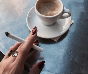 coffee, cigarette, and nails image