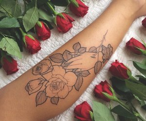 rose, tattoo, and flowers image