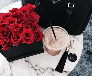 rose, Prada, and coffee image