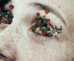 flowers, eyes, and art image
