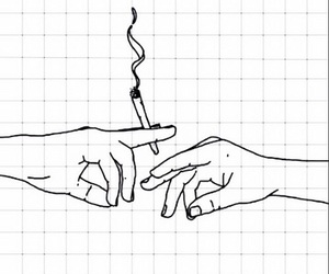 smoke, cigarette, and hands image