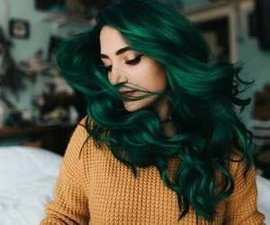 green, green hair, and human image