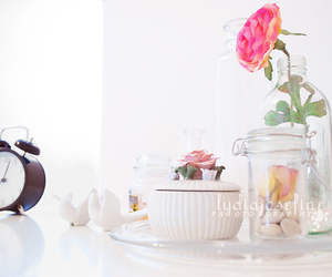 alarm clock, flower, and lydiajosefine image