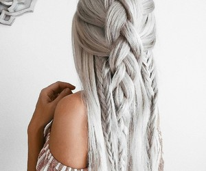 blonde, braids, and highlights image