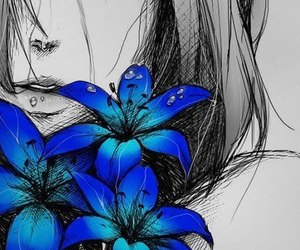 anime, blue, and flowers image