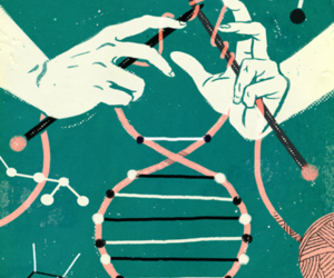 DNA, knitting, and art image