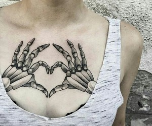 tattoo, heart, and skeleton image