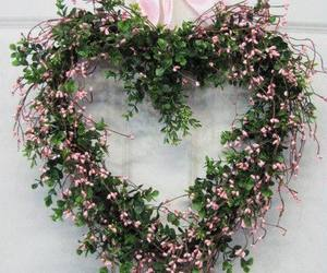 flowers, hearts, and wreath image