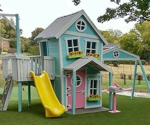 garden, kids, and playhouse image
