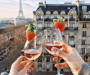 france, paris, and strawberry image