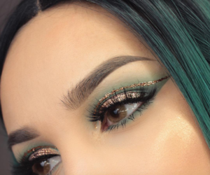 green, makeup, and gold image