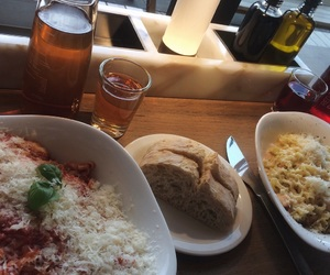 cheese, dinner, and drinks image