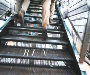 escape, run, and stairs image